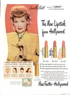 1947 Max Factor Lipstick Ad featuring Lucille Ball