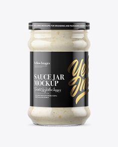 Clear Glass Jar with Horseradish Mockup