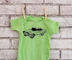 Classic Car Lime Green Baby Onepiece Bodysuit by CausticThreads, $18.00