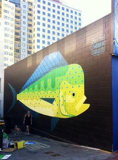 Mahi Mahi for PUBLIC festival organised by FORM 2014 15m x 6m - Acrylics on brick, 2014 #fish #mahimahi #streetart