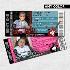 CONCERT TICKET INVITATIONS - Rock Star Birthday Party (printable)