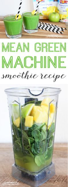 Mean Green Machine Pineapple Smoothie Recipe #DolePineappleJuice #AYearofSunshine #ad