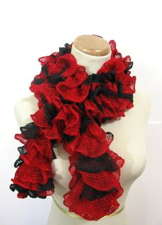 Red and Black Ruffled Scarf  Hand Knit by ArlenesBoutique on Etsy, $37.00