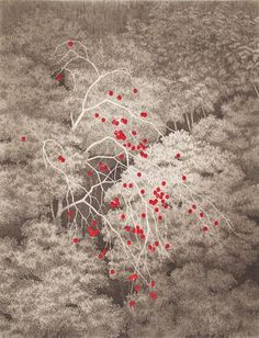 Ryohei Tanaka. Persimmons Thicket. Color etching and aquatint. Edition 85/100. Signed. 2007. Tanaka Wk. #717. 15-3/8 x 11-3/4 inches. 43752c