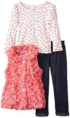 Young Hearts Little Girls' 3 Piece Heart Fur Vest Set