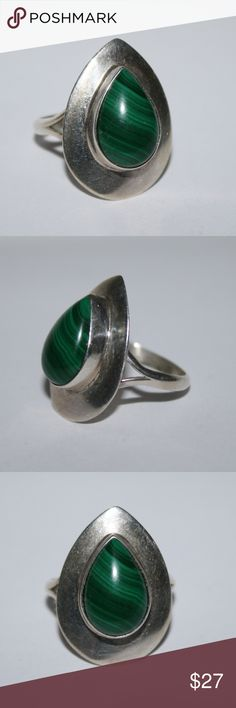Sterling and malachite ring Beautiful Malachite sterling ring. Stamped SR Sterling Size 8 Buy from me with confidence! I have sold over 500 items with a 5 star rating! If you have any questions, do not hesitate to ask.  Looking at a few things in my shop? Put a bundle together, comment on an item that you are ready to check out and let me send you an even better offer!  Thank you for visiting :) Free gifts with every purchase! Jewelry Rings