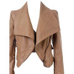 Lapel PU Light Khaki Biker Jacket Love this jacket