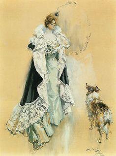 1902-Harrison-Fisher-Collie-DOG-Antique-ART-PRINT-Beautiful-Queen-15-x11