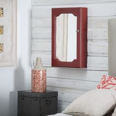 Distressed Wall Mount Mirrored Locking Jewelry Armoire - Red