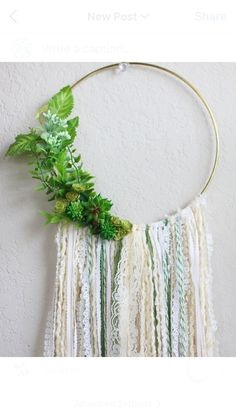"""Large Bohemian Wall Hanging in Cream with Greenery and Succulents // Inspired by the 2017 color """"Greenery""""! BarnyardPeacock yarn wall hangings are the perfect addition of soft color and texture for your modern bohemian home or Country Cottage.    Beautiful as a stand alone piece and also excellent at breaking up the straight lines of gallery walls, Large Bohemian Wall Hanging in Cream with Greenery and Succulents will add vibrancy and depth to your home. Perfect as Birthday, anniversary…"""