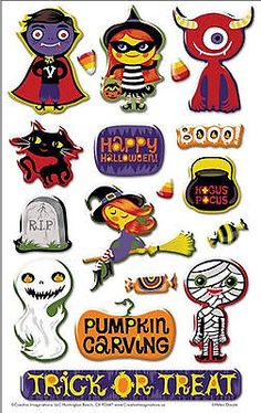 TRICK OR TREAT 3-D Epoxy Stickers (15) PIECES Halloween COSTUMES
