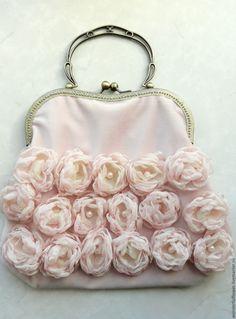 flowers decorated velvet purse