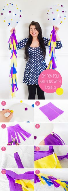 How to make these cute pom pom balloons!