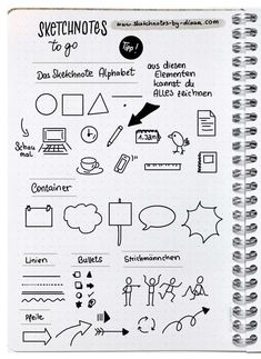 Sketchnotes and handlettering in the Bullet Journal - Sketchnote Tipps & Tricks - Arte Bullet Journal Layout, Bullet Journal Inspiration, Notes For School, Minimalist Bullet Journal, Visual Note Taking, Note Doodles, Sketch Notes, Good Notes, Journal Pages
