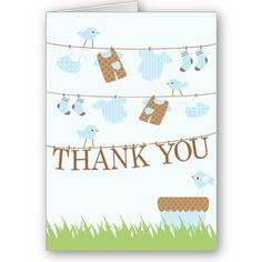 Trendy Baby Monkey Thank You Card    Trendy and stylish baby boy twins clothesline baby thank you note is the perfect finishing touch for your twin boys thank you notes. Matching baby shower invitations, postage stamps & baby shower stickers are available in our shop @ www.celebrateitinvites.com. ©cocoa studio