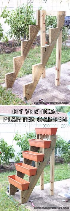 DIY Vertical Garden With Planters On Stair Risers.