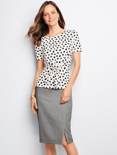 From officewear-chic to off-duty-fashionable, our polka-dot top is day-to-night versatile. Perfect the look with a pencil skirt or black jeans and your favorite accessories | Talbots