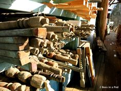 Wooden Spindles...Culpepper's Otto Depot in Otto, NC - architectural salvage.