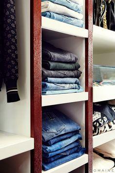 Jaime King's jean storage in her closet makeover