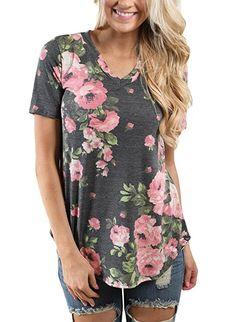 Lovezesent Women's Short Sleeve V-Neck Floral Print Blouses T-Shirt Small Grey
