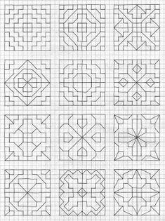 Blackwork Patterns, Blackwork Embroidery, Doodle Patterns, Cross Stitch Patterns, Graph Paper Art, Mandala Art Lesson, Barn Quilt Patterns, Graph Design, Elementary Art