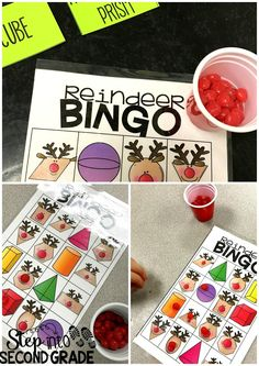 Reindeer Bingo: Students used reindeer noses (cinnamon candies) as BINGO markers.