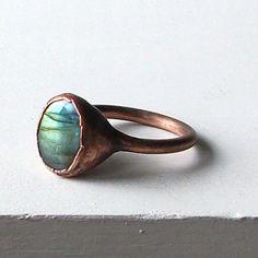 Labradorite Ring Gemstone Ring Cocktail Ring by MidwestAlchemy, $75.50