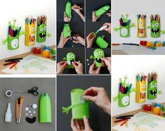 Fun pencil holders, plastic packaging for reuse