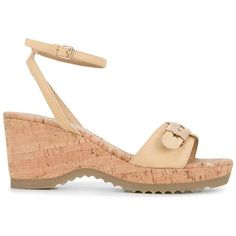 Stella McCartney 'Linda' leather and cork wedge sandals ($440) ❤ liked on Polyvore featuring shoes, sandals, brown, brown wedge sandals, faux leather sandals, vegan sandals, stella mccartney shoes and wedge sole shoes