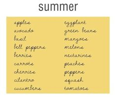 great list from style me green Eating with the seasons ensures that you are eating fresh and helps you eat locally. This list from styl. Cilantro, Whole Food Recipes, Healthy Recipes, Healthy Foods, Eat Seasonal, Nutrient Rich Foods, Health Eating, Skinny Recipes, Summer Recipes
