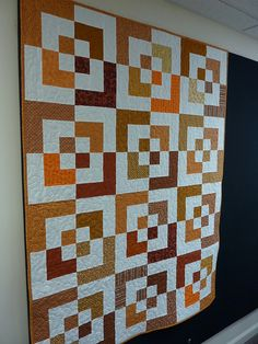 Orange Bento Box quilt by Nettie's Quilts// terry - here is a one with an all over pattern