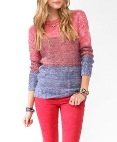 Tri-Color Dropped Shoulder Sweater | FOREVER 21 - 2044077476