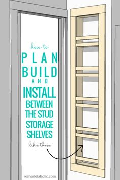 Adding Built-In Shelves for Bathroom In-Wall Storage How To Plan Build And Install Built In Between The Stud Storage Shelves For A Small Bathroom Small Bathroom Storage, Laundry Room Storage, Bathroom Shelves, Closet Storage, Bathroom Organization, Diy Storage, Locker Storage, Storage Ideas, Small Bathrooms