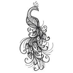 Black Peacock Tattoo Design