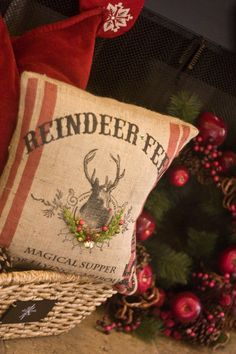 "Need to make some ""reindeer feed"" sack pillows next year-christmas pillow"