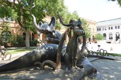 Dr Seuss National Memorial Sculpture Garden in Springfield, MA. Horton Court: A 14-foot Horton the Elephant stepping out of an open book, accompanied by Thing One, Thing Two, Sam-I-Am, Sally and her brother, and Thidwick the Big-Hearted Moose.