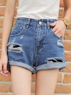 Shop Blue Distressed Cut Out Roll Up Denim Shorts from choies.com .Free shipping Worldwide.$23.99