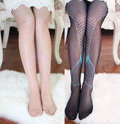 Women Transparent Sexy Sparkling Mermaid Tail Printing Tights Pantyhose Legging | eBay