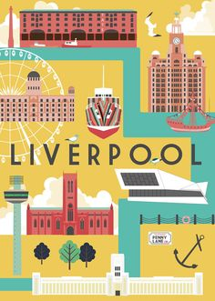 Art Print of Liverpool City par natalieasingh sur Etsy city Liverpool City Art Print Anfield Liverpool, Liverpool City, Liverpool England, Liverpool Poster, Beatles, Cities, Project Life Cards, City Illustration, Poster
