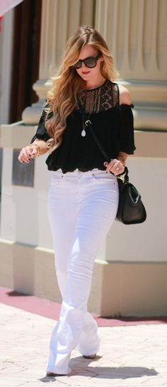 Black lace off the shoulder top styled with white flared jeans and Valley Eyewear sunglasses for a Summer date night outfit