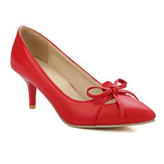 Bow Faux Leather Pumps #>=#>=#>=#>=#> Click on the pin to check out discount price, color, size, shipping, etc. Save and like it!