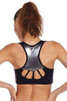 3b39a2310d Racer Stitch Sports Bra - Black from Nina B Roze. Black Sports Bra for Yoga