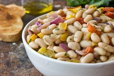 Healthy Recipe: White Bean & Roasted Vegetable Salad  Here's a healthy, easy, nourishing recipe - great for lunch or as a hearty dinner side dish. (It goes with everything - chicken, beef, pork, tofu!) White beans, roasted vegetables, delicious salad.