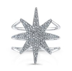 14KT White Gold Diamond Star Ring