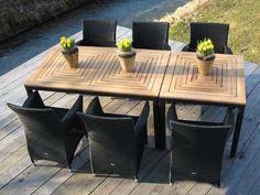 Vintage Exklusive Garnitur Classic Line schwarz perltwist teilig mit Teakholz Tisch