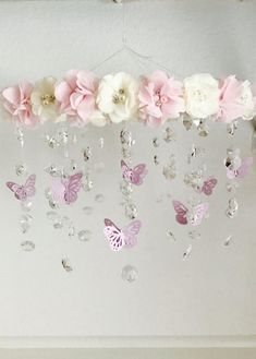 Baby Mobile, Baby girl mobile, Nursery Mobile, Baby Shower G Butterfly Nursery, Butterfly Mobile, Flower Mobile, Butterfly Baby Shower, Baby Shower Backdrop, Baby Shower Signs, Baby Shower Themes, Shower Ideas, Baby Girl Room Themes