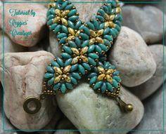 Tutorial  SuperDuo Flower Bracelet by Reggie's by ReggiesCreations