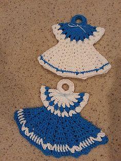 Ravelry: Crochet Easy Vintage Dress Potholder Ann's style pattern by HelenMay Crochet. Done by my dear friend Helen---LOVE IT.