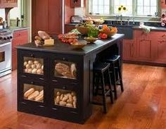 Produce storage on end of cabinets