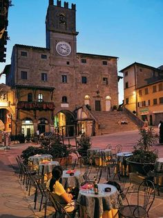 Twilight at the Piazza del Republica in Cortona, Italy.